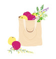 textile eco bag with apples and wildflowers vector image