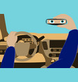 the driver in the car looks in the rear-view vector image vector image