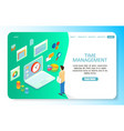 time management landing page website vector image vector image