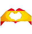 two palms make heart shape spanish flag vector image vector image