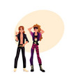 two young people dressed as glam rock stars vector image vector image