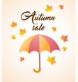 umbrella and orange falling maple leaves vector image vector image