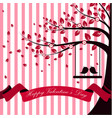 valentine day with tree autumn and pink ribbon whi vector image vector image