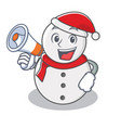 with megaphone snowman character cartoon style vector image vector image