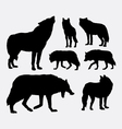 Wolf animal silhouettes vector image
