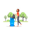 woman hand throws garbage into a plastic bottle vector image vector image