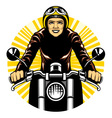 woman ride a motorcycle vector image vector image