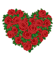 Wreath in the shape of a heart of red roses vector image