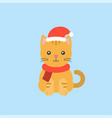 animal wearing santa hat in flat design for vector image