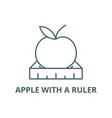 apple with a ruler line icon apple with a vector image vector image