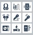 audio equipment icon set in glyph style vector image