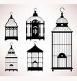 bird cage birdcage vintage retro silhouette a set vector image vector image