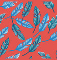 blue banana leaves seamless coral background vector image