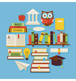 Books Education and Knowledge Flat Design Circle vector image