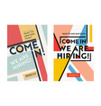 business recruiting banner design set hiring vector image