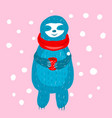 cartoon cute blue sloth in vector image vector image