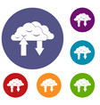 clouds with arrows icons set vector image vector image