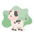 cute cow animal farm character vector image