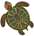 Decorative ornamental turtle with sign colorful vector image