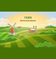 farm green fields rural landscape with a mill vector image