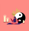 female character meditate with feng shui symbols vector image