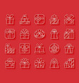 gift simple paper cut icons set vector image vector image