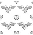 heart and wings outline coloring pattern vector image vector image