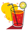 juice in glass line with white background vector image
