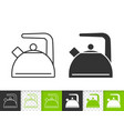 kettle simple black line icon vector image vector image