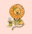 lion cute cartoon circus tropical animal hand draw vector image vector image