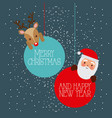 merry christmas and happy new year santa and deer vector image