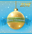 merry christmas decoration background with 3d gold vector image vector image