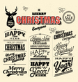 merry Christmas sign and symbols decoration vector image vector image