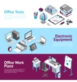 Office Work Place Isometric Banners Set vector image vector image