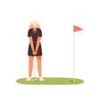 professional female golf player aiming to hit vector image vector image