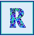 R - letter - Green Watercolor mosaic vector image