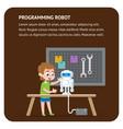 robot programming flat banner young engineer boy vector image vector image