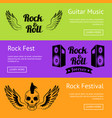 rock music collection creative colorful posters vector image