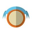 round shield orange frame and ribbon shadow vector image vector image