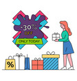 sale 30 off lowering price only today vector image vector image