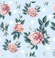 seamless pattern with tea roses bouquet vector image vector image