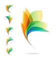set abstract elements logos petals vector image vector image