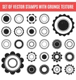 Set black grunge stamp round shapes
