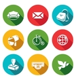 Set of Post Office Icons Postman Letter vector image