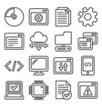 software and hardware programing icons set line vector image vector image
