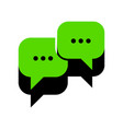 speech bubbles sign green 3d icon with vector image