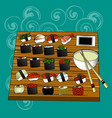 sushi set sea food maki and rolls japanes vector image vector image