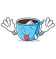 tongue out tea cup mascot cartoon vector image vector image