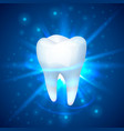 tooth on a blue background vector image vector image