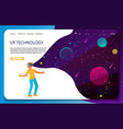 vr technology landing page website template vector image vector image